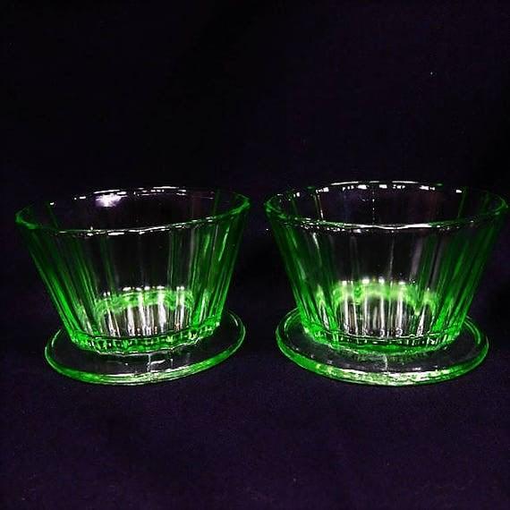 Pair Green Vaseline Depression Glass Custard Footed Cups / Sherbet / Sherbert / Dessert