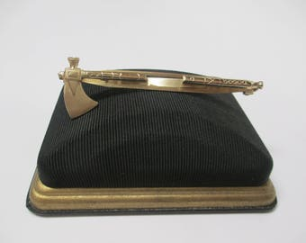 Vintage Manleigh Hinged Axe Tie Bar, Gold Tone Handaxe in Art Deco Box