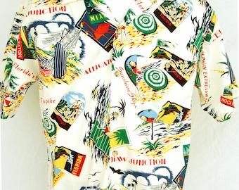Vintage Florida Turnpike Toll Booth Employee Hawaiian Shirt S Men size Aloha Shirts State Print