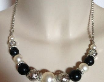 necklace  - black plastic pearl and silver beads highly unusual different striking design