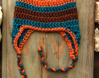 Crochet Striped Baby Ear Flap Hat in Orange, Teal and Chocolate Brown, Baby Boy Hat, Crochet Baby Hat, Winter Hat