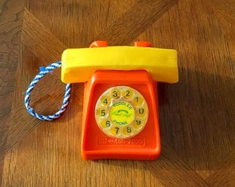 Molded Plastic Vintage Toddler PLAY PHONE  Rotary Dial Handi-craft Mid Century