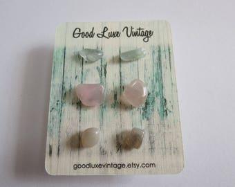 Crystal Earring Set Studs Aquamarine Rose Quartz Moonstone Pastels Birthday Gift Natural Druzy Gemstones Nickel Free Boho