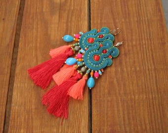 Teal Tassel Earrings, Long Colorful Dangle Drop Earrings, Tassel Earrings, Boho Earrings, Soutache Earrings, Handmade Earrings Long
