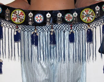 Tribal belt, Belly dance, Tribal fusion,Tribal fusion ATS belly dance,Tribal,Tribal coin fringe tassel belt,Shell belt,Belly dance belt