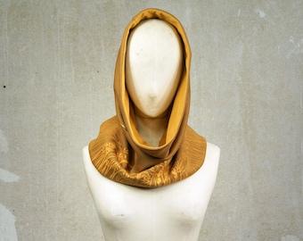 Button Scarf, ooak Neck Warmer, Meadow screenprint Loop Scarf, Vintage Fabric Cowl ocher / mustard, Ecofriendly multi-positions unisex scarf