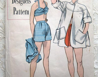 Vintage 50s Rockabilly Two Piece Halter Bathing Suit w Beach Coat.  Simplicity 8258 Designer Sewing Pattern.  Size 16 Bust 34""