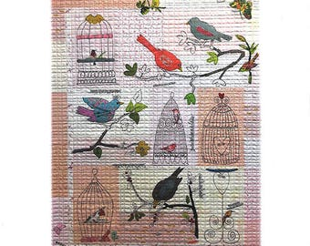 Fiberworks Laura Heine Collage CHIRP CHIRP Bird Aviary Quilt Pattern 42 x 47