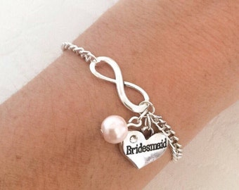 Infinity Bracelet, Personalised Bracelet, Bridesmaid Bracelet, Initial Bracelet, Charm Bracelet, Personalised Jewelry