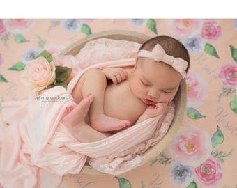 Personalized peach floral swaddle blanket: baby and toddler personalized name newborn hospital gift baby shower gift