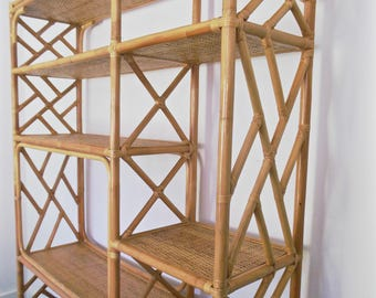 Rattan Etagere Wall Unit Chippendale Style Chinese Chinoiserie