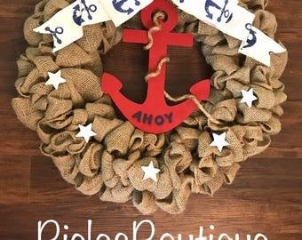 Nautical Anchor Burlap Wreath
