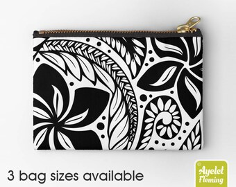 Floral Zipper Pouch, Polynesian Tattoo, Zip Pouch, Polynesian Tribal, Makeup Bag, Floral Pencil Pouch, Botanical Bag, Floral Pouch