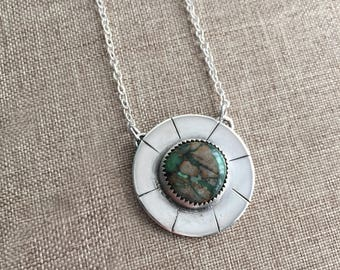 Australian Variscite Statement Necklace, Green Necklace, Sterling Silver Pendant
