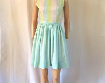 Early 1960's Candy Colored Pastel Sleeveless Dress 24""