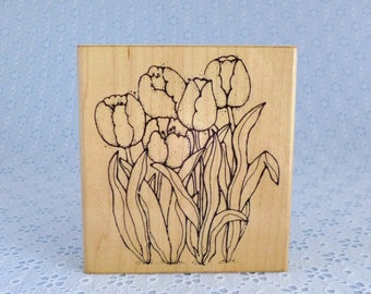 Large Tulip Stamp, Springs Tulips, Spring Flowers, Rubber Stamp, D.O.T.S., Wood Mounted, Paper Crafts, Card Making, Scrapbooking