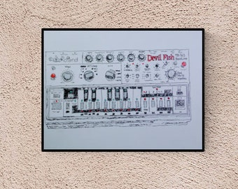 Synthesizer fans Roland, 303 Devilfish handmade illustration, perfect gift for music lovers