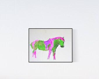My little green pony: Geschenk für Pferdefans - Pop Art Illustration  - Zeichnung - Porträt nach Foto - Pferdeporträt