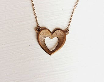 Vintage 12K Gold Filled Heart Pendant on Chain