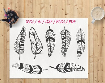Feather svg / Feathers svg files / Boho feathers svg / Boho feathers clipart / Feathers svg cut file / Feather clipart / Feather clip art