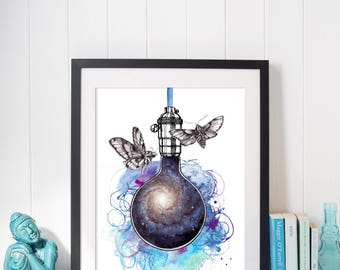 Art Print, Illustration, Butterflies and galaxy in a light bulb, watercolor ink and pencil, home decor