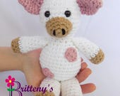 Pink Cow Stuffed Animal / Pink Stuffed Cow / Crochet Cow Stuffed Animal / Plush Cow / Cow Plush Toy / Crochet Plush Cow / Cow Snuggly Pal