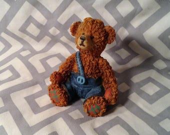 Miniature Boy Bear Figurine, Knick Knack - Wearing Blue Denim Overhauls, Patch Work Paws - Baby Room, Nursery Decor - Country Farm Kid
