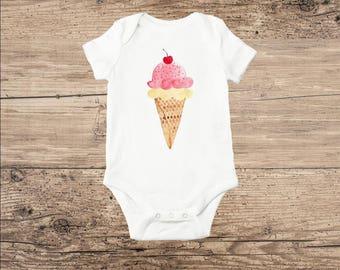 Baby Clothes, Watercolor Ice Cream Cone