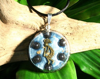 Hematite Orgone Pendant - Kokopelli - Root Chakra Healing Lightworker Jewellery - Medium