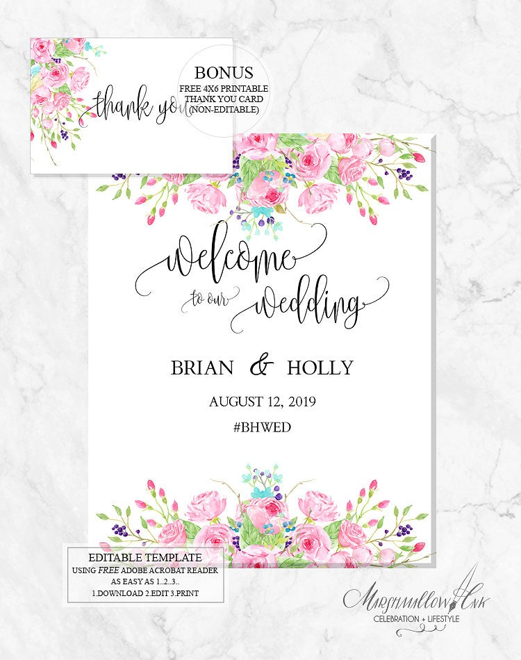 Wedding Signs, DIY Wedding Template Welcome Sign Printable, Welcome Wedding Signs Wedding Sign PDF Wedding Printable, Wedding Reception Sign