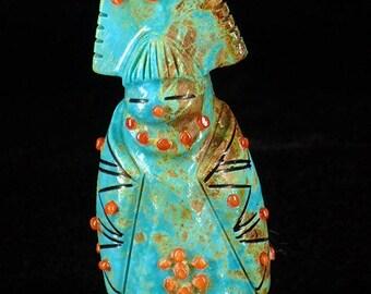 Zuni Fetish Tablita Maiden Native American Indian Art Carving Turquoise Tablita Maiden by Claudia Peina