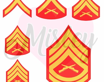 US Marine Corps Emblems and Rank Insignias Bundle SVG, PNG, and STUDIO3 Files for Silhouette Cameo/Portrait and Cricut Explore Craft Cutters