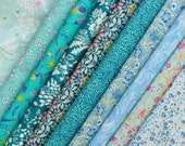 10 Liberty Tana Lawn - quilt scraps- 5''x5'' - TURQUOISE