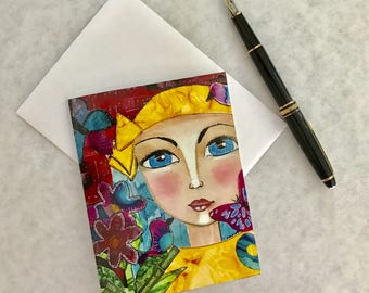 Note card. Art card. Greeting card. Print of original alcohol ink art. Caity's Girls. Life is Composed of Moments