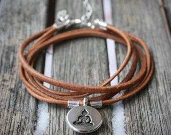 BRACELET women yoga, double, silver buddha medallion charm and diamond shape silver charm.