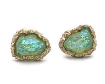 MCM Green Lava Rock Cufflinks, Moon Rock Green Freeform Oval Stone Cuff Links, Green Iridescent Steampunk, Men's Jewelry, Swank Cuff Links