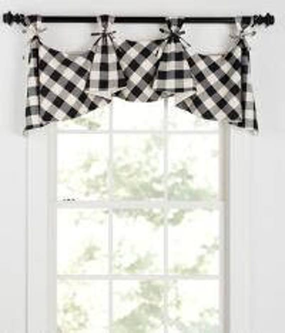 buffalo check tab flounce valance in black. Black Bedroom Furniture Sets. Home Design Ideas