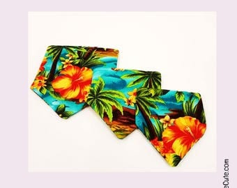 Dog Bandana - Tropical Hawaii Fashion Fabric with Hibiscus Flower in S, M and L Dog Sizes