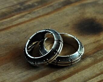 "Alternative Wedding Silver Rings ""Aeternium""   Industrial Wedding Rings   Steampunk Wedding Rings"