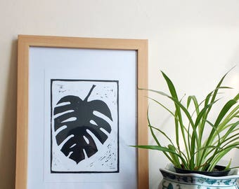 Lino Print / Monstera Lino Print / Original Lino Print / Cheese plant print / Black and White Print / Plant Print