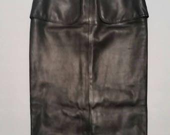 Authentic Rare Chanel Long Leather High Waist Midi Slit Skirt CC Logo Buttons Fr 38 XS