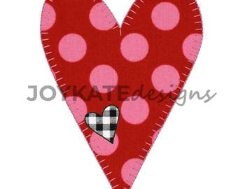Blanket Stitch Heart Applique' Design with Mini Heart Patch, Raggy stitch heart, Valentine's Day embroidery file, Vintage stitch applique