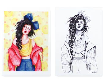 2 Pack 'Bluebow' / Art Print / Fashion Illustration / Ink Drawing / Watercolour Painting