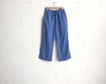 90s Light Wash Denim Soft Cotton Joggers · Denim Lounge Pants · Cropped Denim Pants · 90s Cotton Trousers · High Waist Denim Cropped Pants M