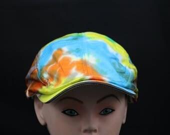 Tie Dye Flat Driving Samuel L Jackson Hat, OOAK Southwest Sunrise Ivy Cap
