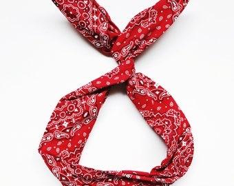 Red Banadana Wire Headband by Byrd