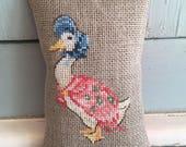 Handmade Lavender Sachet Beatrix Potter Jemima Puddle Duck Cross Stitch Liberty of London Fabric