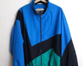 90s Vintage Color Block Windbreaker Jacket Vintage Windbreaker Retro Nylon Jacket Activewear DASH Blue Teal Black Size Large