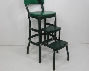 Green and Chrome Mid-Century Cosco  Stool w/ Padded Seats, Back Rest and Fold Out Steps