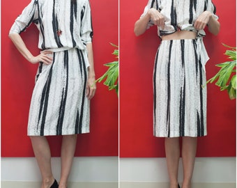 80s Black & White Two-Piece Dress Set // Silky Graphic Abstract Stripe Print Top and Skirt Set sz S / M